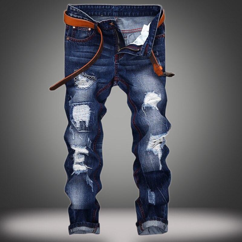 8751a550e Calças de Brim dos Homens da Moda Casuais Calças de Brim Magros Retas Alta  Elasticidade Pés Jeans Cintura Solta Compridas Hot Vender G11