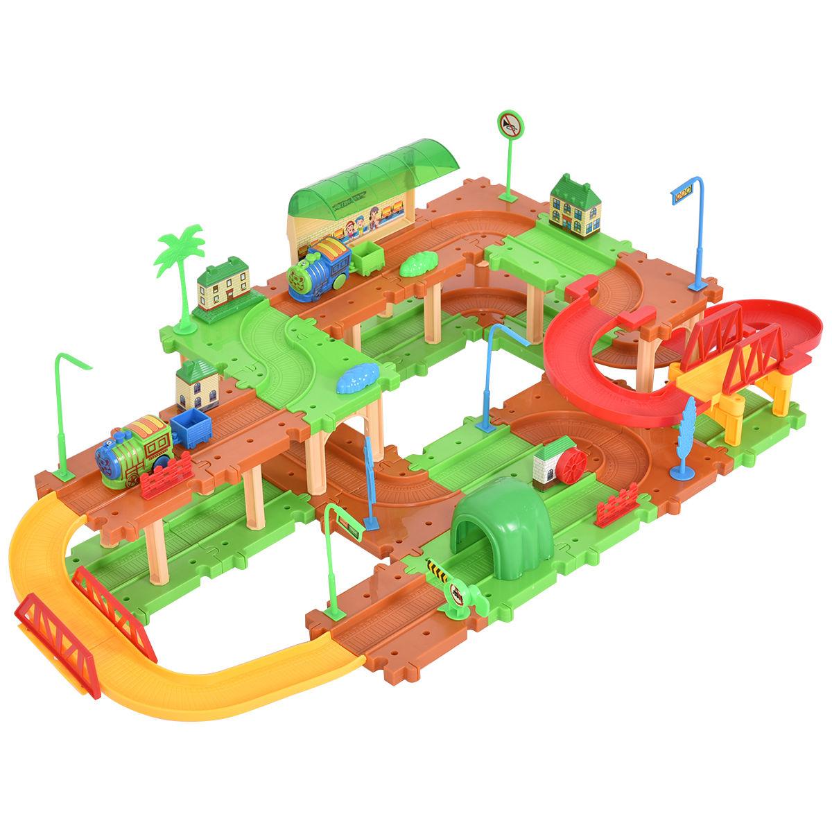 Kids Child Plastic Brick Toys Electronic Building Blocks Railway Train