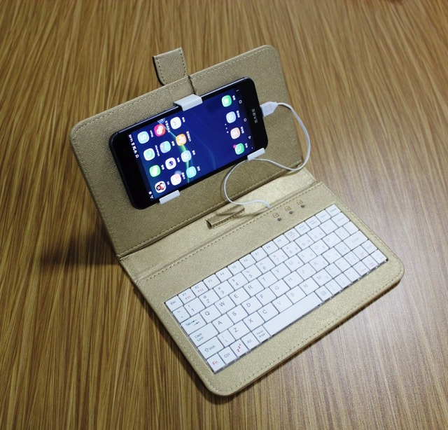 mobile phone case with wired usb keyboard mouse pure color leather