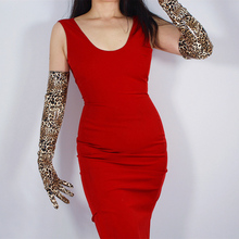 2019 Women Leopard Long Gloves 60cm Patent Leather Section Elbow Simulation PU Bright Brown