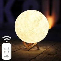 3D Magical Moon LED Night Light Moonlight Desk Lamp USB Rechargeable 3 Light Colors Stepless