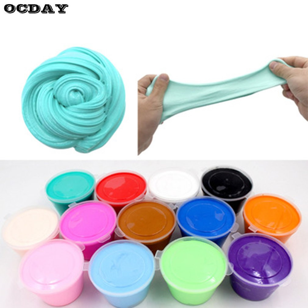 Kids 3D DIY Fluffy Foam Clay Slime Soft Cotton Stress Relief Slime Ball Kit No Borax Craft Mud Toys Slime Light Modeling Clay