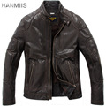 Hanmiis genuine leather clothing male stand collar slim sheepskin leather clothing motorcycle leather jacket male