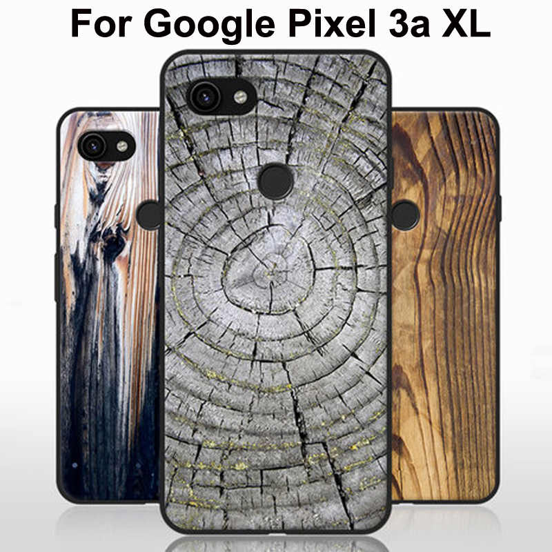 "6.0"" Silicone bumper For Google Pixel 3a XL case 3aXL soft TPU wood stone style back cover For Google Pixel3a XL fundas"