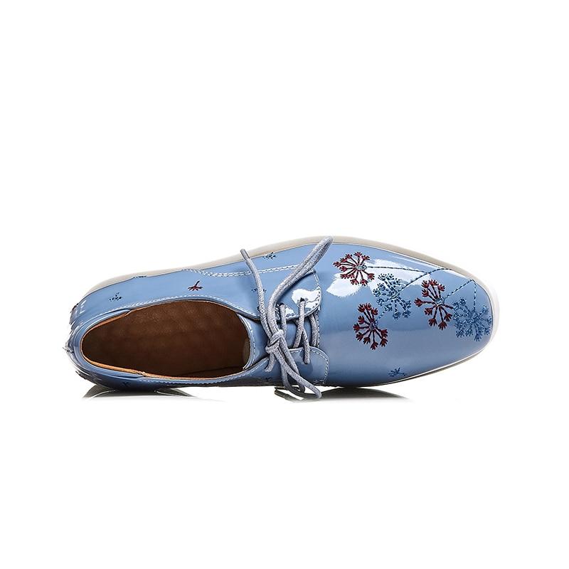 Grande Femmes Plate forme Appartements D'âge Chic Classiques bleu 2019 Noir Taille 42 Flambant Neuf Véritable En Cuir Chaussures Mode Karinluna De Mûr Style mN8nw0Ov
