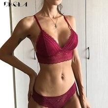 440955182 Novo Conjunto Jovem Menina Bra Colete Sem Costura Plus Size 38 36  Ultrafinos Mulheres Lingerie Sexy Bordado Rendas de Algodão Co.