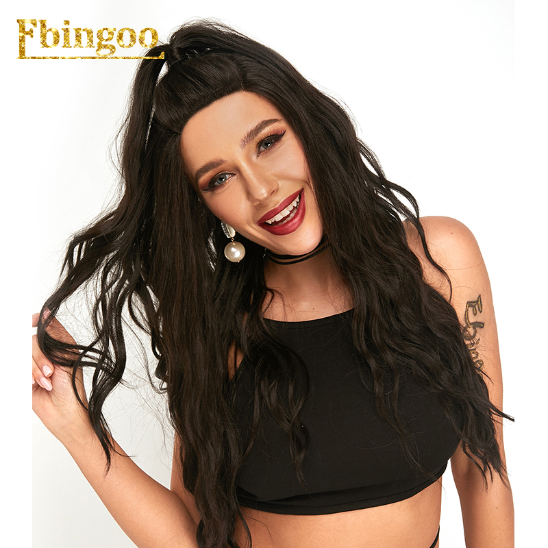 Ebingoo 24 U Part 4 Natural Black Futura Fibers Synthetic Lace Front Wig Water Wave For
