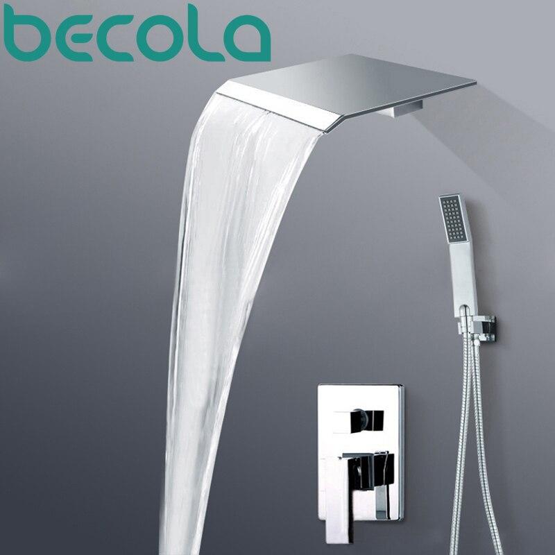 Becola polido chrome luxo wall mounted rain & cachoeira torneira do chuveiro conjunto com chuveiro de mão único punho BR-PB-100