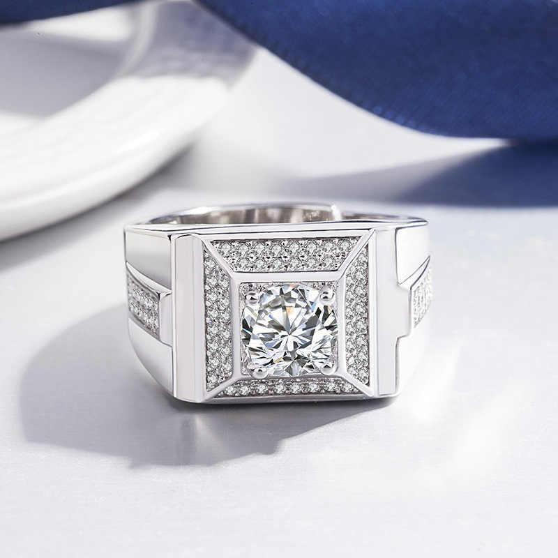 Wukaka модное серебряное кольцо с большим отверстием с камнем, Кристальное кольцо для мужских колец для мужчин, пара, свадебные регулируемые мужские ювелирные изделия 2019