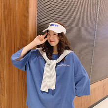 2019 Summer Womens Long T-shirt Fashion Casual Harajuku Style Loose Oversize Female Tees Letter Printing Pink Tops