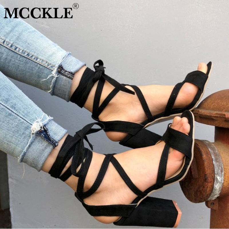 MCCKLE Women Plus Size Summer Ankle Strap High Heeled Sandals Female Cross Tied Lace Up Wedding Shoes For Girls Ladies Fashion 1 5 rc car metal front complete diff gear set metal front differential assembly set fit losi 5ive hpi rovan lt ddt toy parts