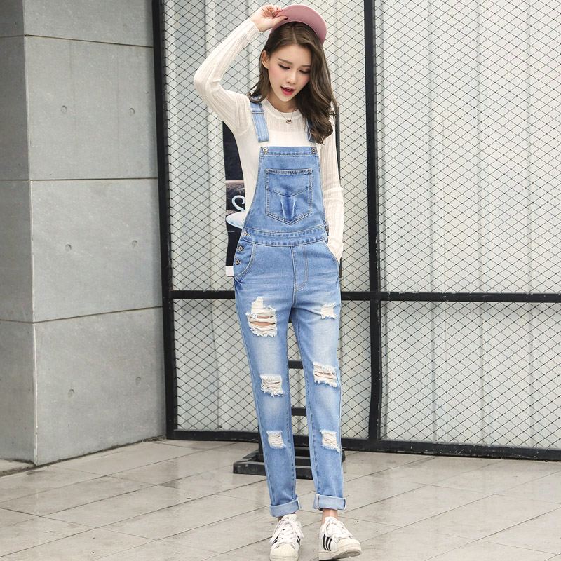 2019 New Loose  Korean New Womens Jumpsuit Denim Overalls Casual Ripped Girls Pants Jeans big toe sandal