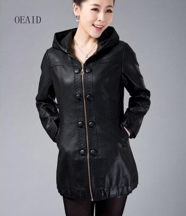 Taille 2018 Vêtements De Capuche Vestes Cuir La Hiver Long Plus Noir marron Manteau Veste 4xl Printemps Manteaux Avec Femmes Nouvelle En Sqw7Cg5