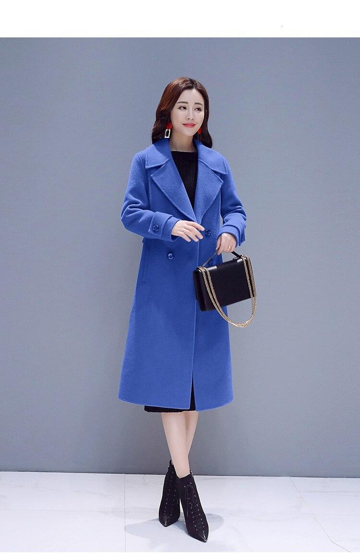 Cachemire black De Longues Nouvelle Mode 752 Automne Manteau Femelle Hiver D'hiver Manteaux Long Veste Femmes Manches Blue Élégantes Laine HUAB5w6q