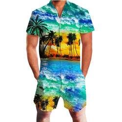 С принтом кокосовой пальмы Гавайи Комбинезоны для малышек для мужчин 3d короткий рукав комбинезон playsuit шаровары брюки карго