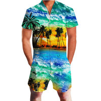 Coconut Tree Print Hawaii Rompers Men's 3d Short Sleeve Jumpsuit Playsuit Harem Cargo Overalls Summer Beach One Piece Dropship