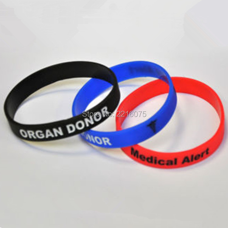 Online Shop 300pcs Medical Alert Organ Donor Wristband Silicone