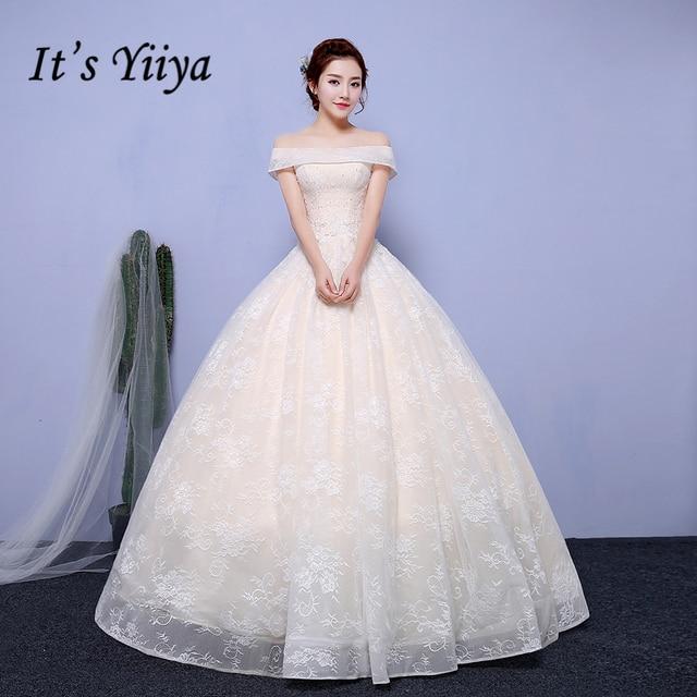It's Yiiya Popular Off White Sleeveless Boat Neck Wedding Dresses