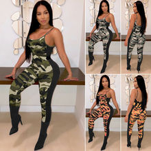 Womens Camouflage Bodycon Jumpsuit Summer Sleeveless Sexy High Waist Romper Clubwear Playsuit Overalls One Piece