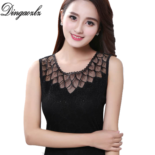 c7b9980cb3f Dingaozlz Fashion Women Tank Tops Summer sleeveless lace Tops Plus size  clothing 5XL Patchwork Mesh Casual lace shirt