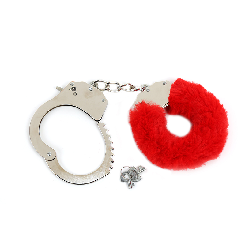 HanHaoBird Sex Game Handcuffs With Plush Adult Supplies Fun Plush Metal Plush 3 Colors Black Red Pink Purple Chain Length