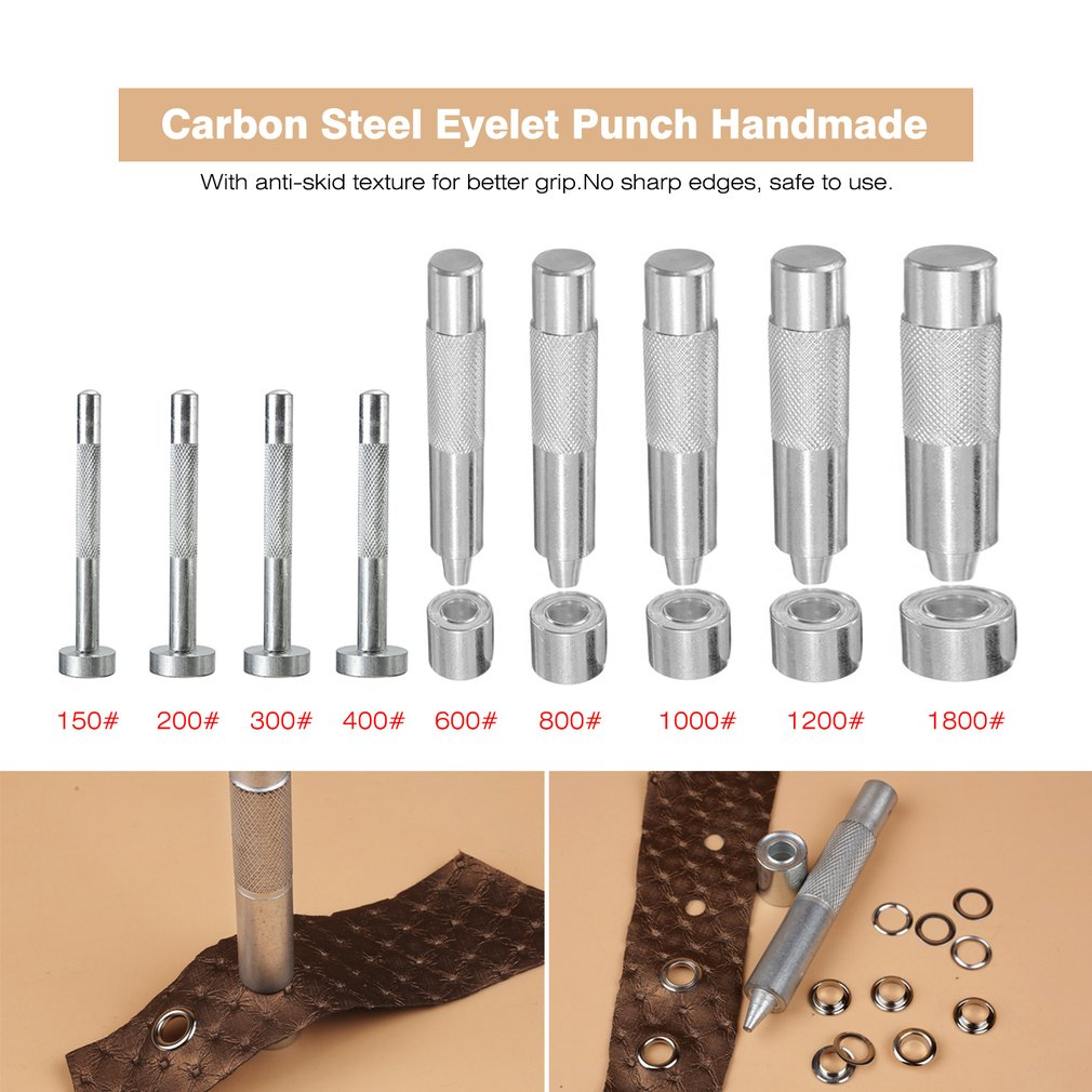цена на Carbon Steel Eyelet Punch Hole Cutter Set For Leather Craft Clothing Grommet Eyelet Punch Die Tool Household DIY Repairing Tool