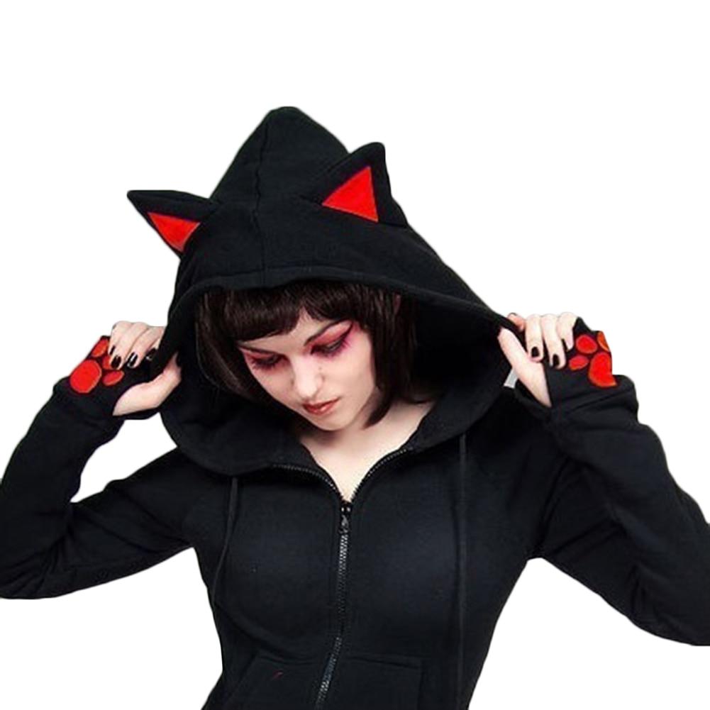 2017 Female Women Casual Hoodies Long Sleeve Hoody Cat Ears Printed Hoodies