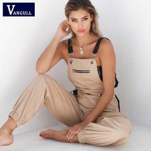 Vangull New Khaki Rompers Womens Jumpsuit Long Elegant Zipper Pockets Sleeveless Adjusted Strap High Waist Cotton Fashion Summer