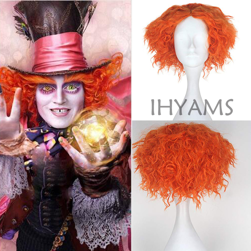 Alice in Wonderland 2 Mad Hatter Tarrant Hightopp Orange Wig Short Curly Cosplay Costume Wigs + Wig Cap