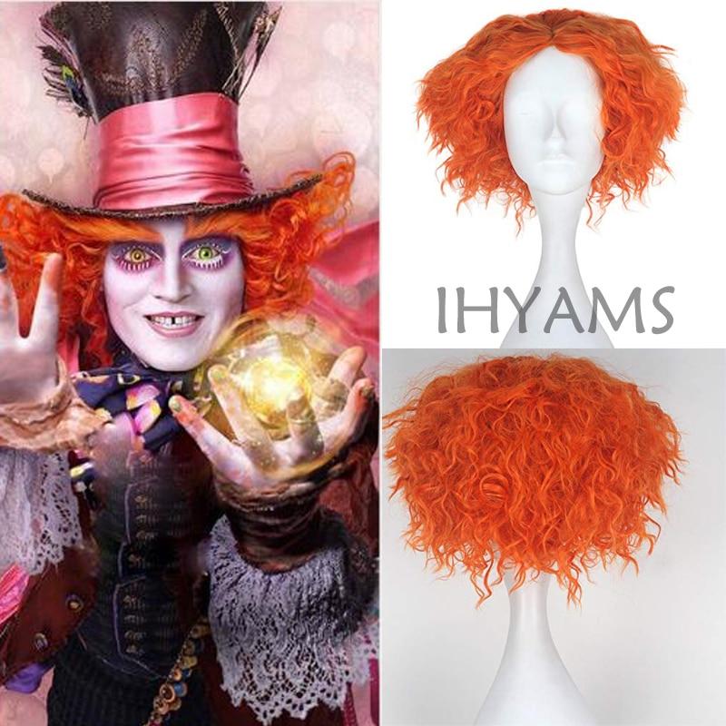 Alice In Wonderland 2 Mad Hatter Tarrant Hightopp Orange Wig Short Curly Cosplay Costume Wigs + Wig Cap