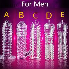 Kryształowy silikonowy przezroczysty zestaw prezerwatywy przedwczesny wytrysk prezerwatywy wielokrotnego użytku Penis większe zabawy prezerwatywy zabawki dla dorosłych tanie tanio Wibratory G-spot SM01G-AK222 Reusable Condoms ANAL PLUG Support Transparent Fun Condom Silicone 125mm*33mm easy to carry ready to use can be used repeatedly