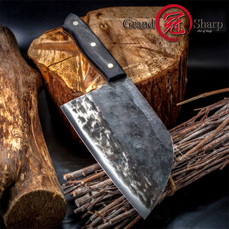 7 Handmade Forged Chef Knife Clad Steel Forged Chinese Cleaver Professional Kitchen Chef Knives Vegetable Meat