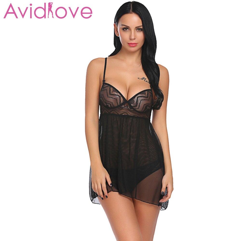 Buy Avidlove Women Sexy Lingerie Hot Erotic Sleepwear Underwear Costumes Babydoll Open Back Sheer Babydoll Set Nightwear Panty