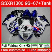 Обтекатели для SUZUKI Hayabusa GSXR1300 96 07 Топ Белый Синий GSXR 1300 96 97 98 99 00 01 42SH3 GSX r1300 1996 1997 1998 1999 2001