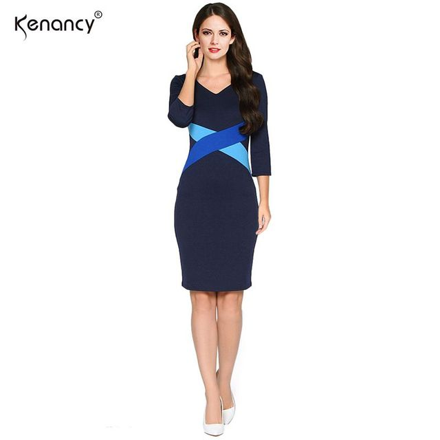 Kenancy Fashion Simple Women Autumn Dress Hit Color Stitching Three Quarter Sleeve V-neck Knee-Length Bodycon Vestidos