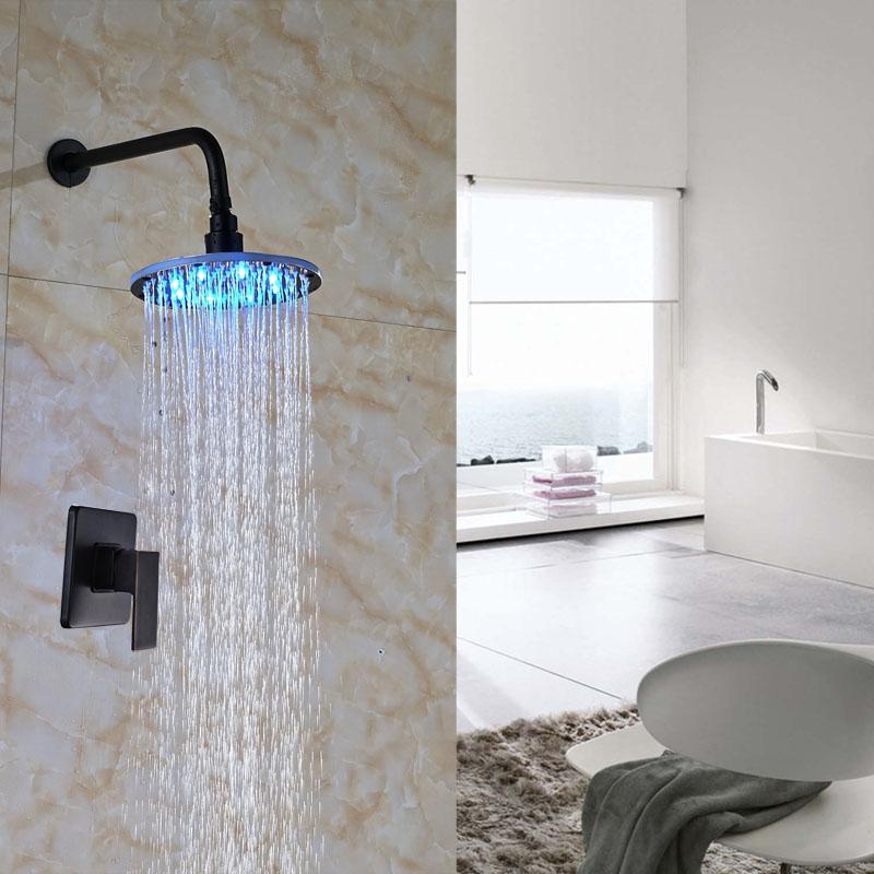 Newly Wall Mount Oil Rubbed Bronze Shower Set LED Light Bath Rainfall Shower Units Mixer Tap