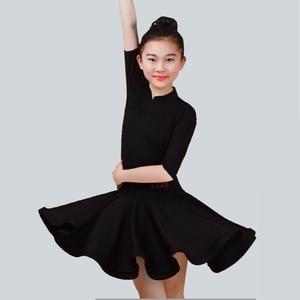 Image 4 - 2020 menina vestido de dança latina 5 cores vermelho/verde/azul criança/criança criança fitness crianças samba chacha rumba menina mostrando saias de dança 2034