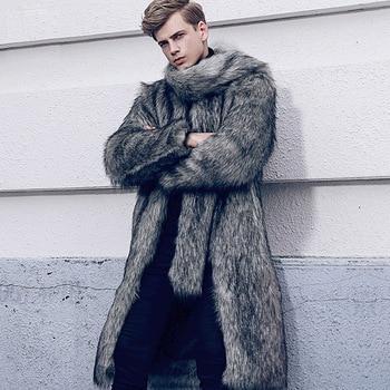 S-6XL European and American men's suit fur lined Men Trench Coat Faux fox fur Men Winter Clothes High imiation Fox Fur Coat