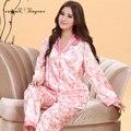Em estoque mulheres noite terno sleepwear conjunto pijama completo manga v neck casais pijamas set respirável conjunto pijamas de seda