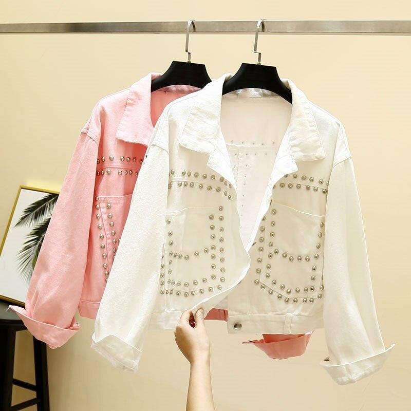 4ea8cd919 Hot Sale] Women White Yellow Pink Denim Short Jeans Jacket Vintage ...
