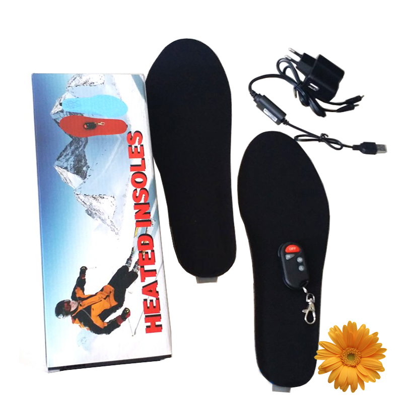 3.7V Best New Year Gift USB Charging Electric Powered Heated Insoles For Ski Snow Shoes Boots Winter Keeping Feet Warm Women Men
