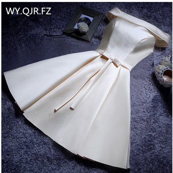 YLL034X#Boat Neck Lace up Twill Satin Cloth Pink Red Evening Dresses Short Bride Wedding Party Toast Dress Gown Prom Wholesale 1