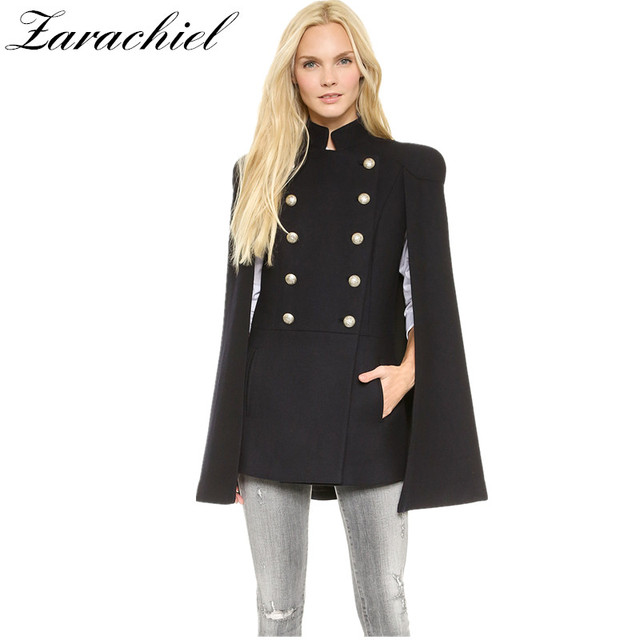 8ea8e224172b Zarachiel 2018 Winter Designer Ponchos Shrug Jacket Long Wool Coat Women  Cape Cloak Outwear Metal Double-Breasted Black Overcoat