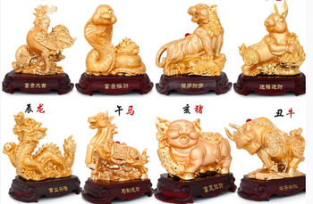 Size 29cm*15cm*28cm Alluvial gold Gold Brilliant Crafts Rat ox tiger Horse sheep monkey chicken dog Decoration home statues
