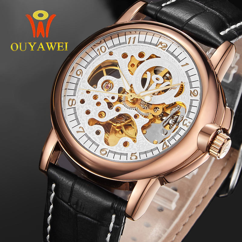 Gold Skeleton Men Mechanical Watch OUYAWEI Top Brand Antique Automatic Wind Military Wristwatch Sport Lather Band