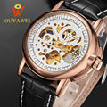 Gold Skeleton Men Mechanical Watch OUYAWEI Top Brand Antique Automatic Wind Military Wristwatch Sport Leather Band Causal Watch