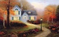 Free shipping Thomas Kinkade painting reproduction autumn landscape giclee prints nice wall art on canvas