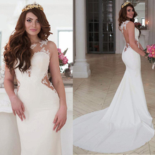Exquisite Jewel Neckline Mermaid Wedding Dress With Lace Appliques Sleeveless Illusion Back with Button Bridal Dresses