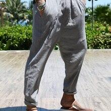 Мужские брюки свободные льняные повседневные штаны комбинезоны мужские прямые тонкие повседневные ботильоны Длина Штаны Популярные летние мужские штаны K482