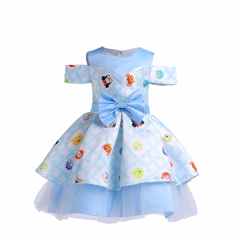 Kid Girls Print Dress Cartoon Bow Pattern Summer Dresses Princess Costume for Kids Clothes Tunic Jersey Vestidos Children 8 Year azel elegant latest new child dress for 2 3 year old girls vestidos fashion summer kid clothing little girls daily clothes 2017